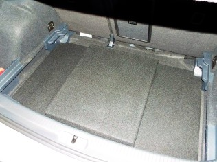 Here is a test fit of the carpeted box.