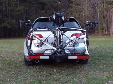 I can open the hatch if I have just one bike mounted in the aft position. The hatch is blocked when two bikes are mounted...