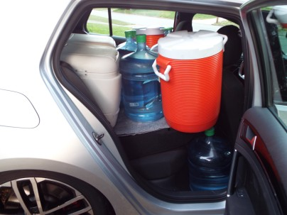 Another 40 gallons of water and 150 lbs of ice inside the car...